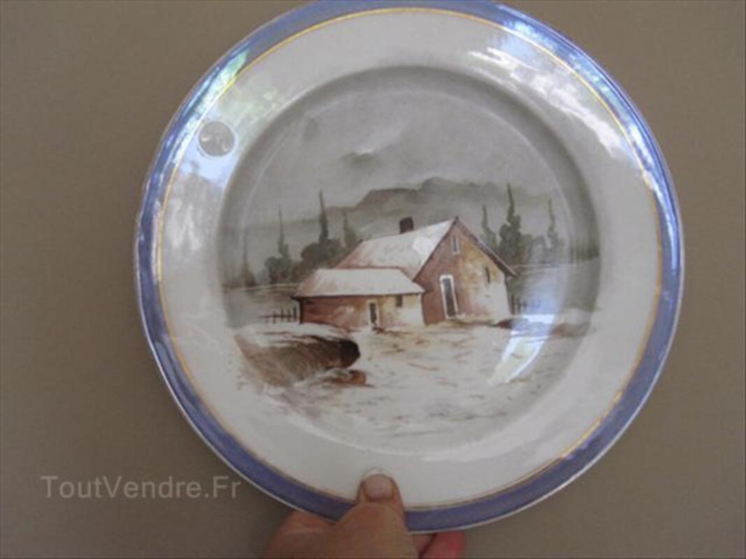 Assiette ancienne - Décor Chalet sous la neige 54470703