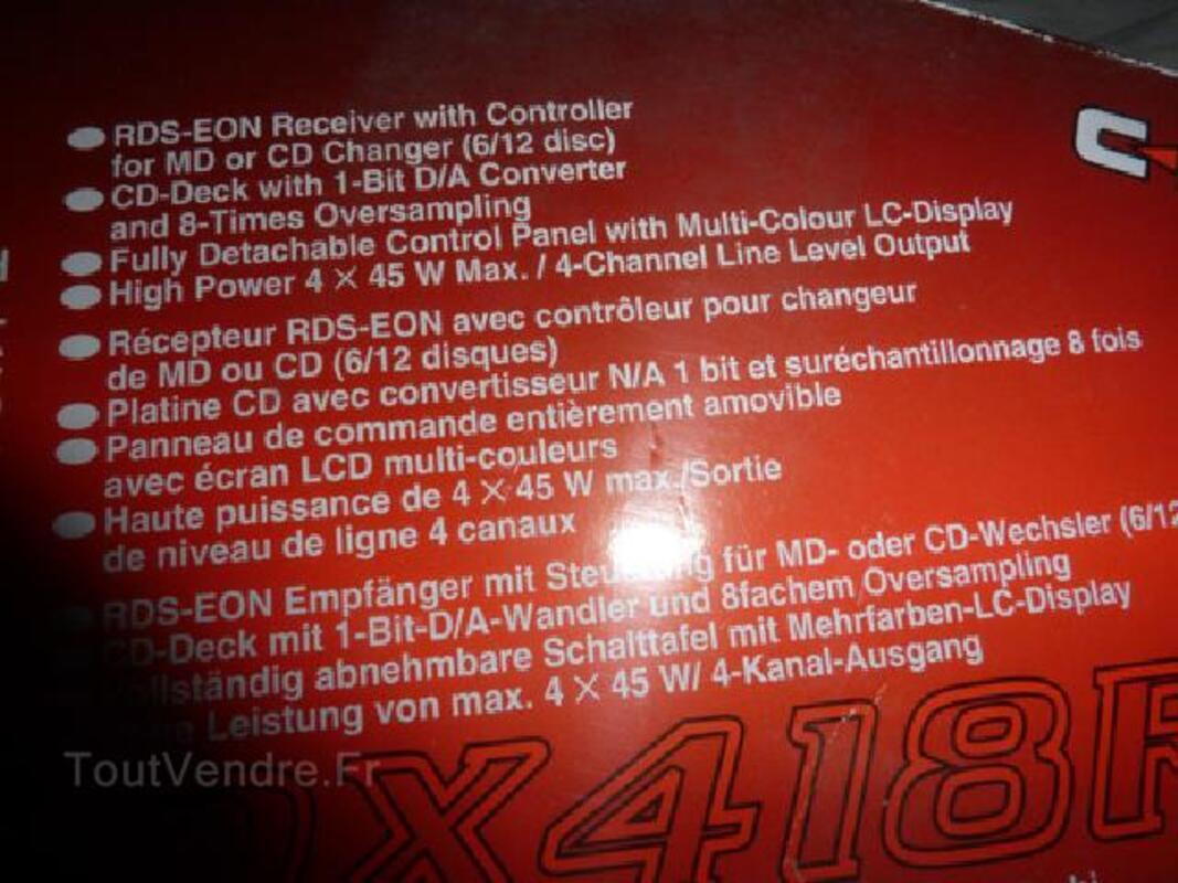 Auto radio clarion lecteur CD 4 X45 W FACADE DETACHABLE 92255019