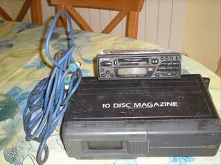 Autoradio laser cassettes chargeur 10cd et cable