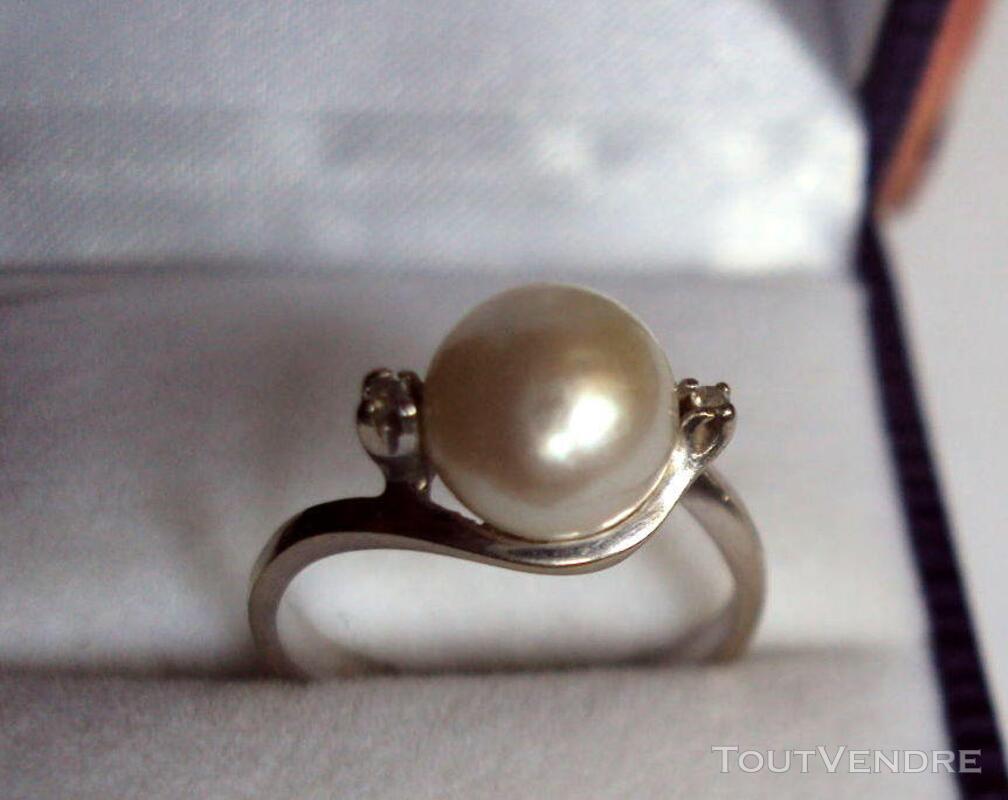 Bague or 18k poinçons  perle culture 2 diamants  taille 52 319468975