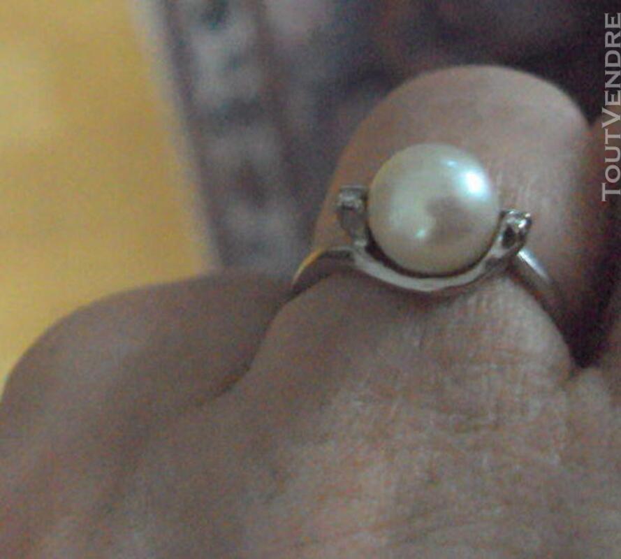 Bague or 18k poinçons  perle culture 2 diamants  taille 52 319468981