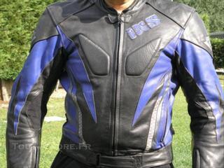 Beau Blouson moto en cuir Homme