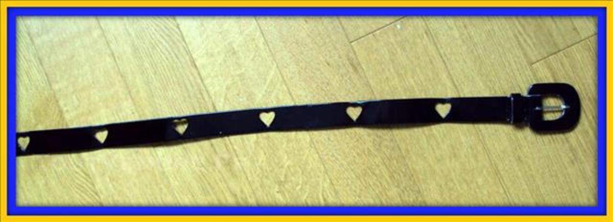 Belle ceinture cuir noir vernis coeurs 40 80081078