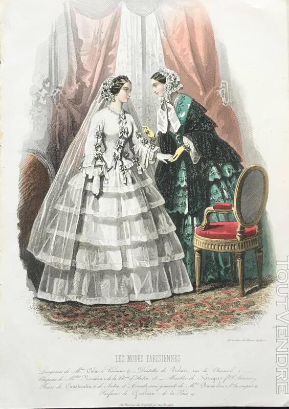 Belle Gravure du 19èm siècle -MODES PARISIENNES 376503624