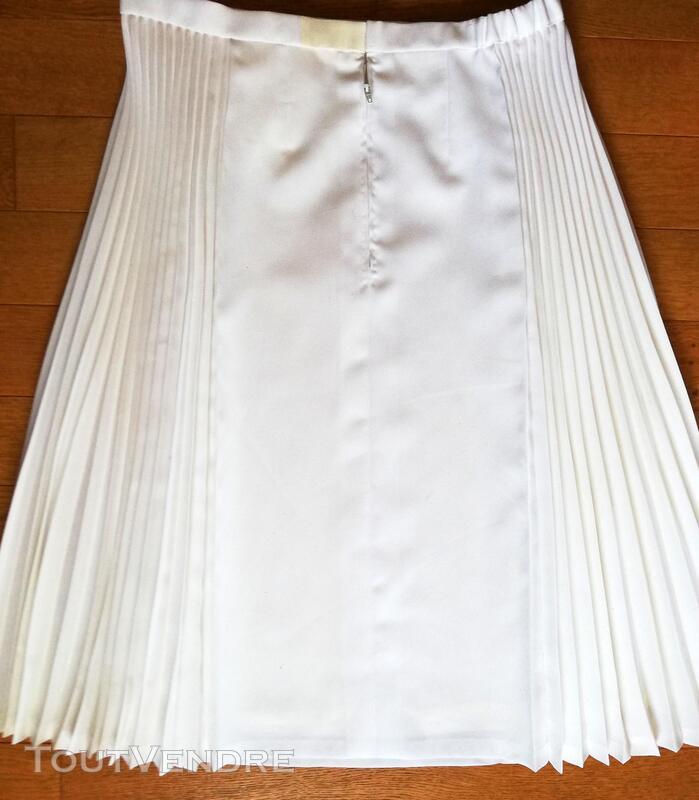 Belle jupe blanc cassé plis grande taille XL 415425746