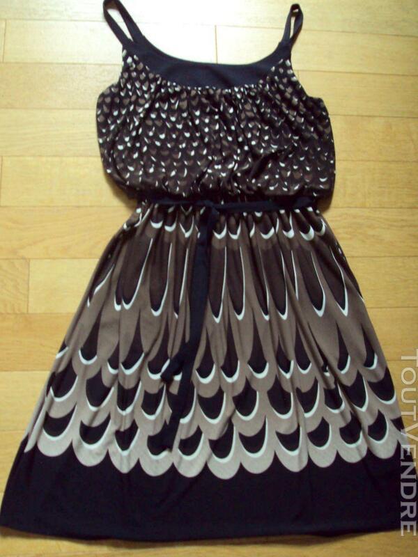 Belle robe marron & noire chic 40 243588306