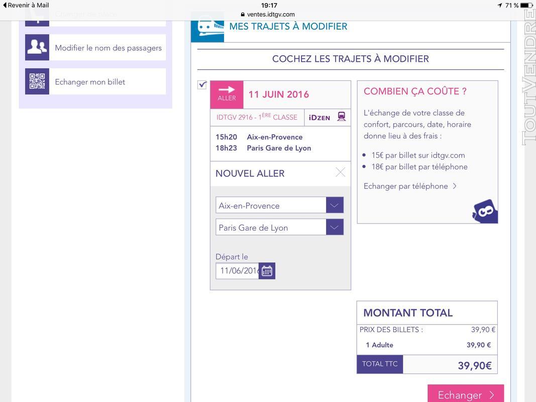 Billet SNCF Aix en Provence -TGV 11 juin 2016 130789203