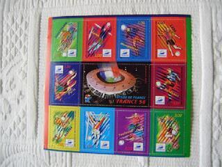 Bloc de timbres coupe du monde de football 1998