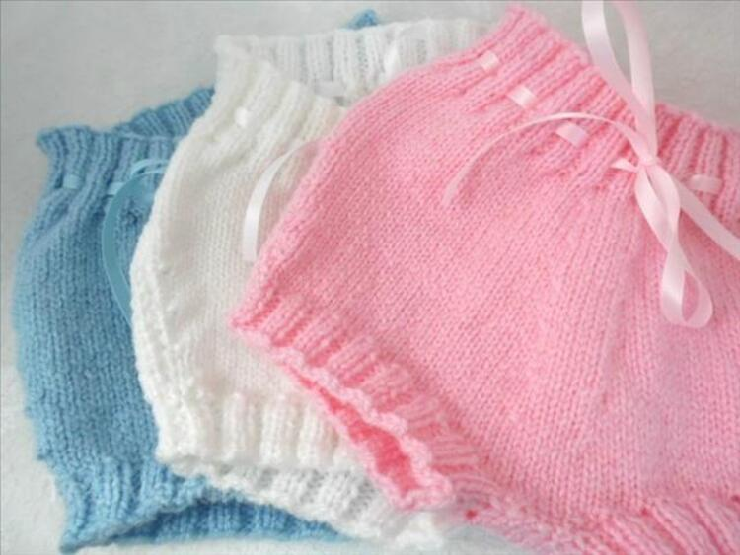 Bloomer bébé bleu blanc ou rose tricot fait main 100116617