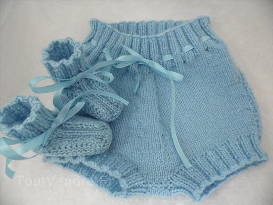 Bloomer bébé bleu blanc ou rose tricot fait main 100116618