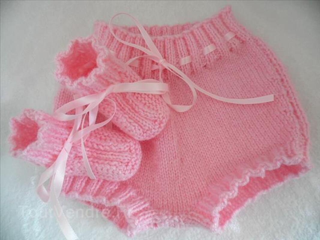 Bloomer bébé bleu blanc ou rose tricot fait main 100116619