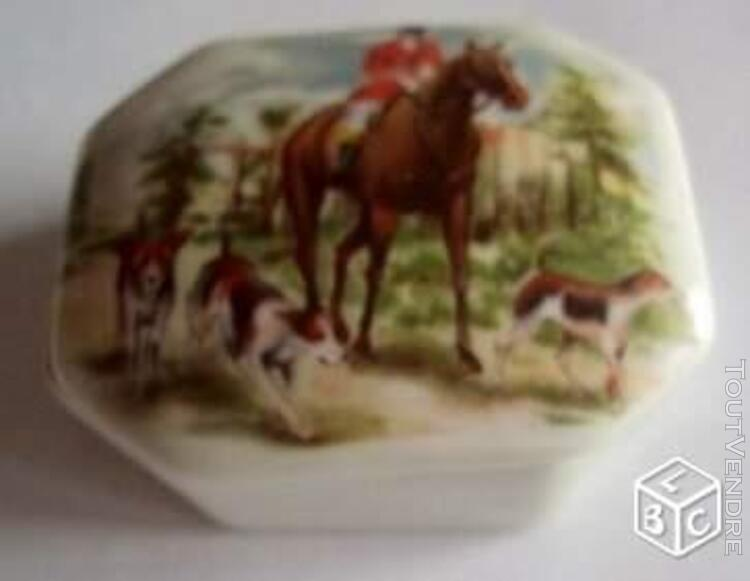 Boîte porcelaine Limoges chasse cheval chiens 661519210