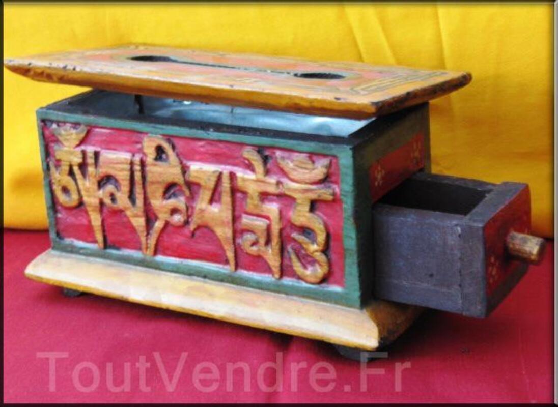 Boites tibétaines en bois brule encens peint à la main(BTE02 95657610