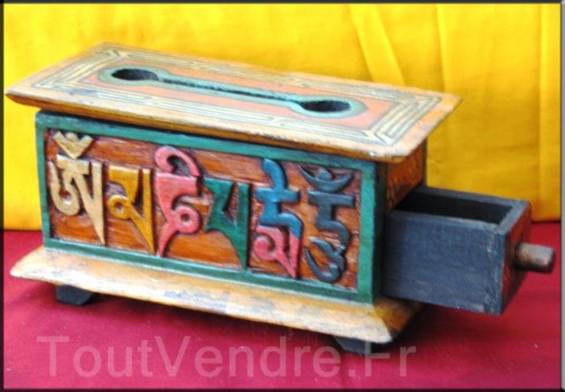 Boites tibétaines en bois brule encens peint à la main(BTE02 95657611