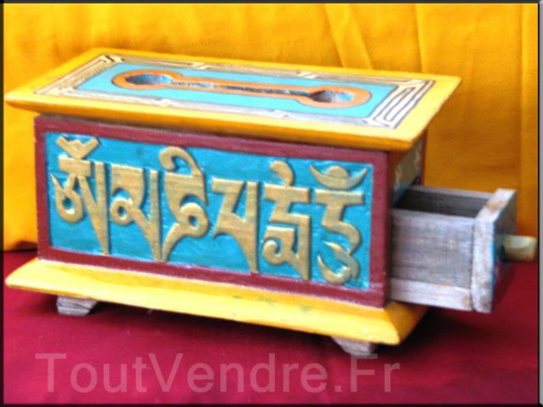 Boites tibétaines en bois brule encens peint à la main(BTEO1 95657606