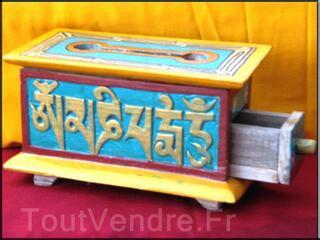 Boites tibétaines en bois brule encens peint à la main(BTEO1