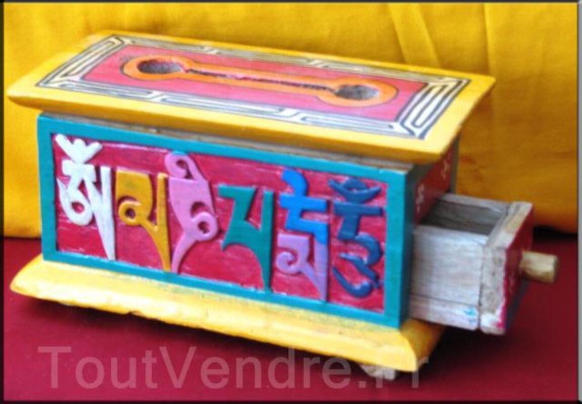 Boites tibétaines en bois brule encens peint à la main(BTEO1 95657607