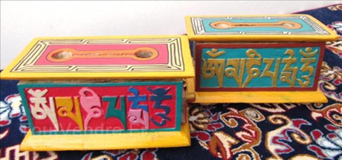 Boites tibétaines en bois brule encens peint à la main(BTEO1 95657608