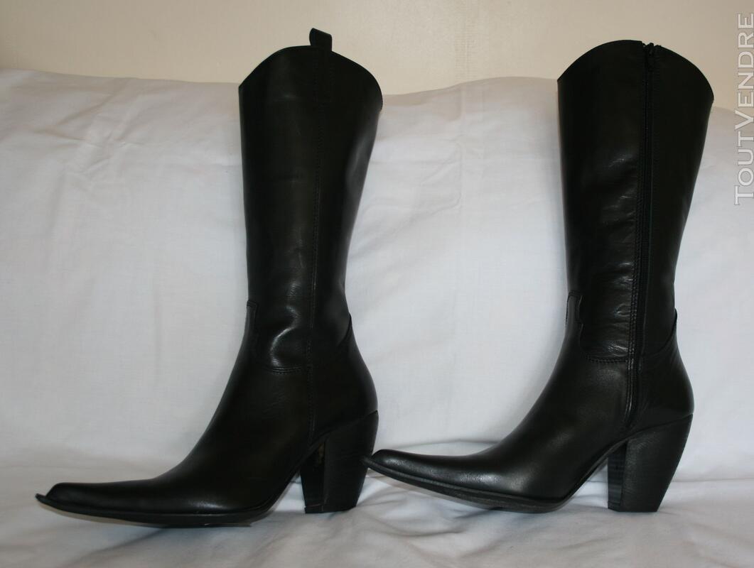 Botte en cuir noir style TIAG 125331030