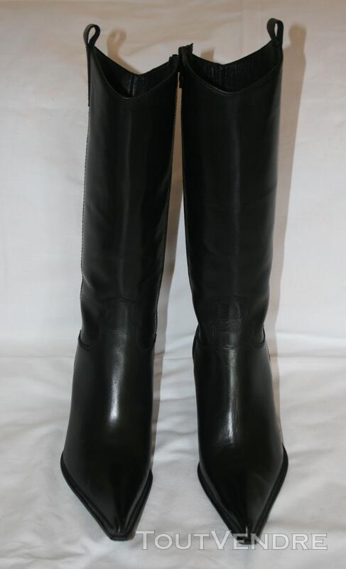 Botte en cuir noir style TIAG 125331032
