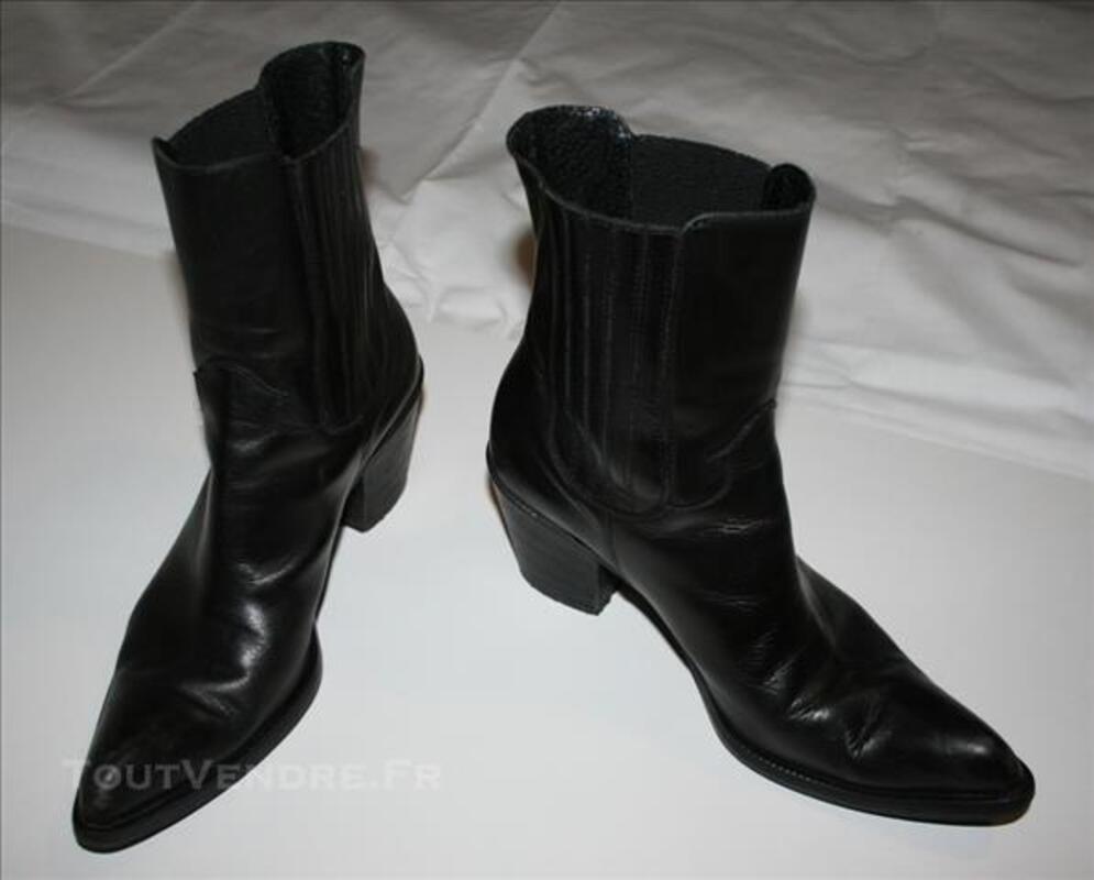 Bottine style Tiag en cuir noir 78060276