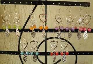 Boucles d'oreilles fantaisie femme coeurs perles argent