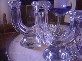 Bougeoirs cristal paire chandelier déco table ancien