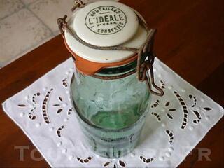 Bouteille  bocal conserve l'ideale verre et porcelaine