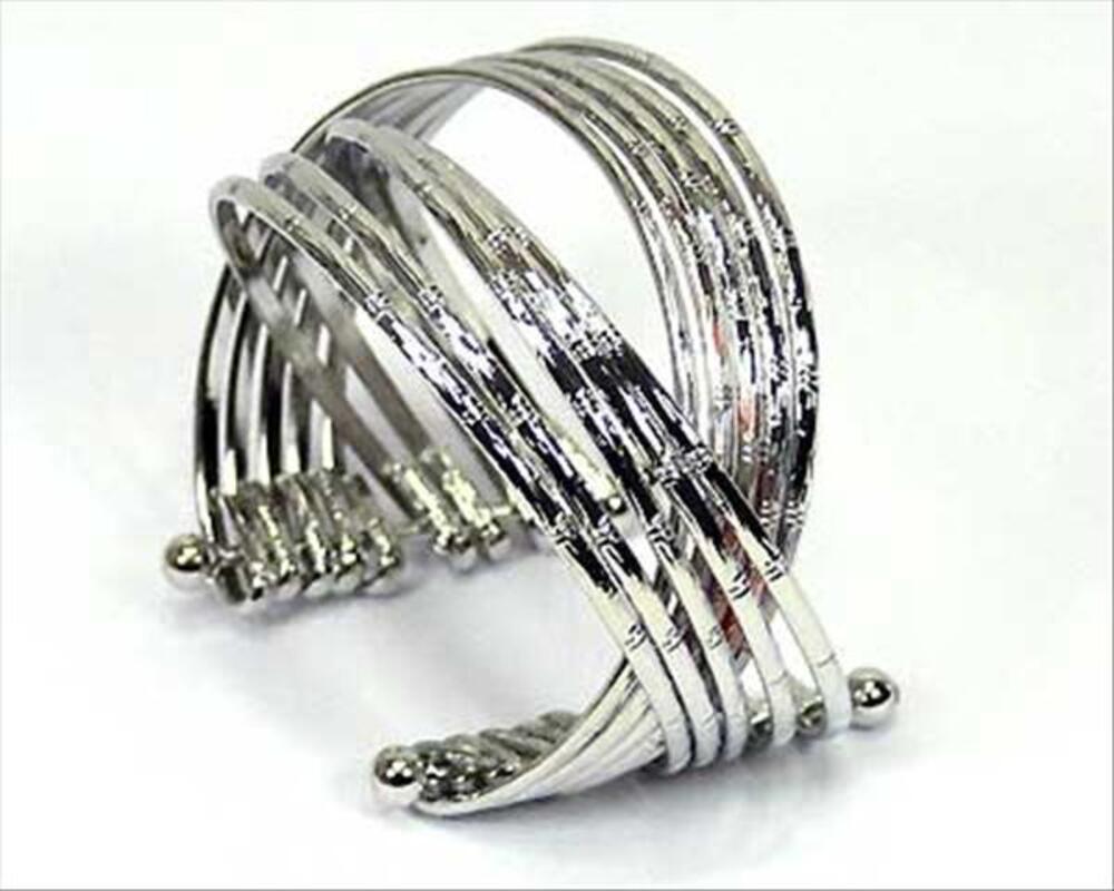 Bracelet fantaisie femme métal anneaux argent neuf emballage