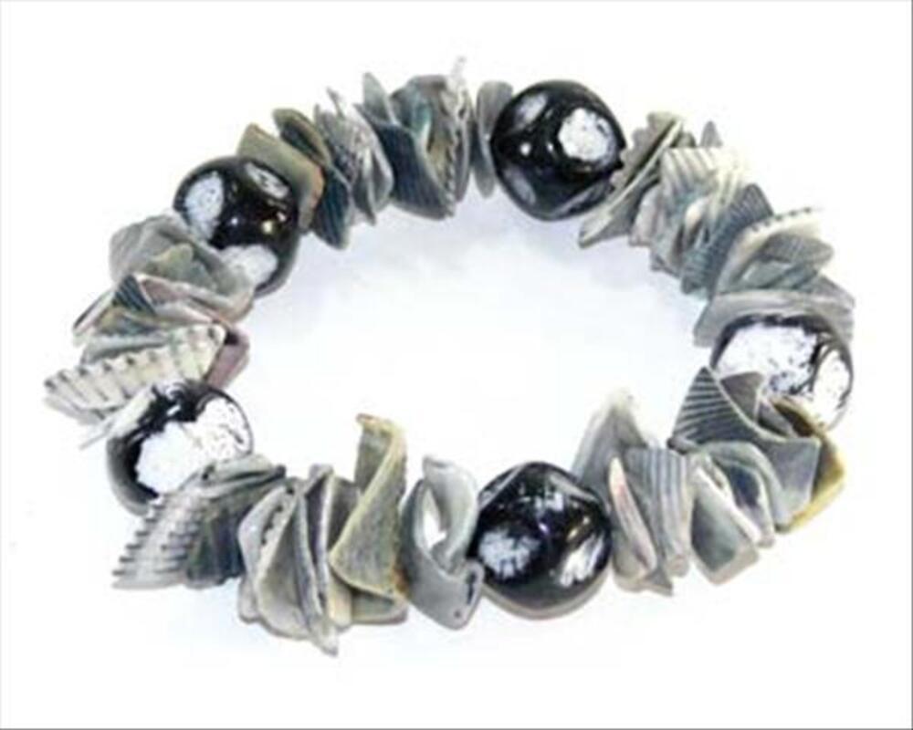 Bracelet fantaisie femme perles coquillage gris-neuf-emballé