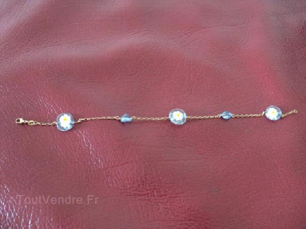 Bracelet or 18 carats et perles verre de Venise 91469433