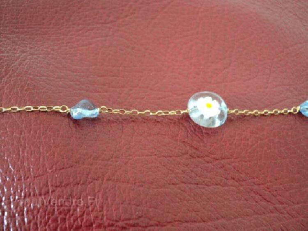 Bracelet or 18 carats et perles verre de Venise 91469434