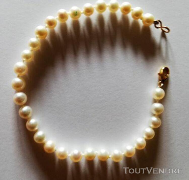 Bracelet or 18 k  et perles de culture 537919473