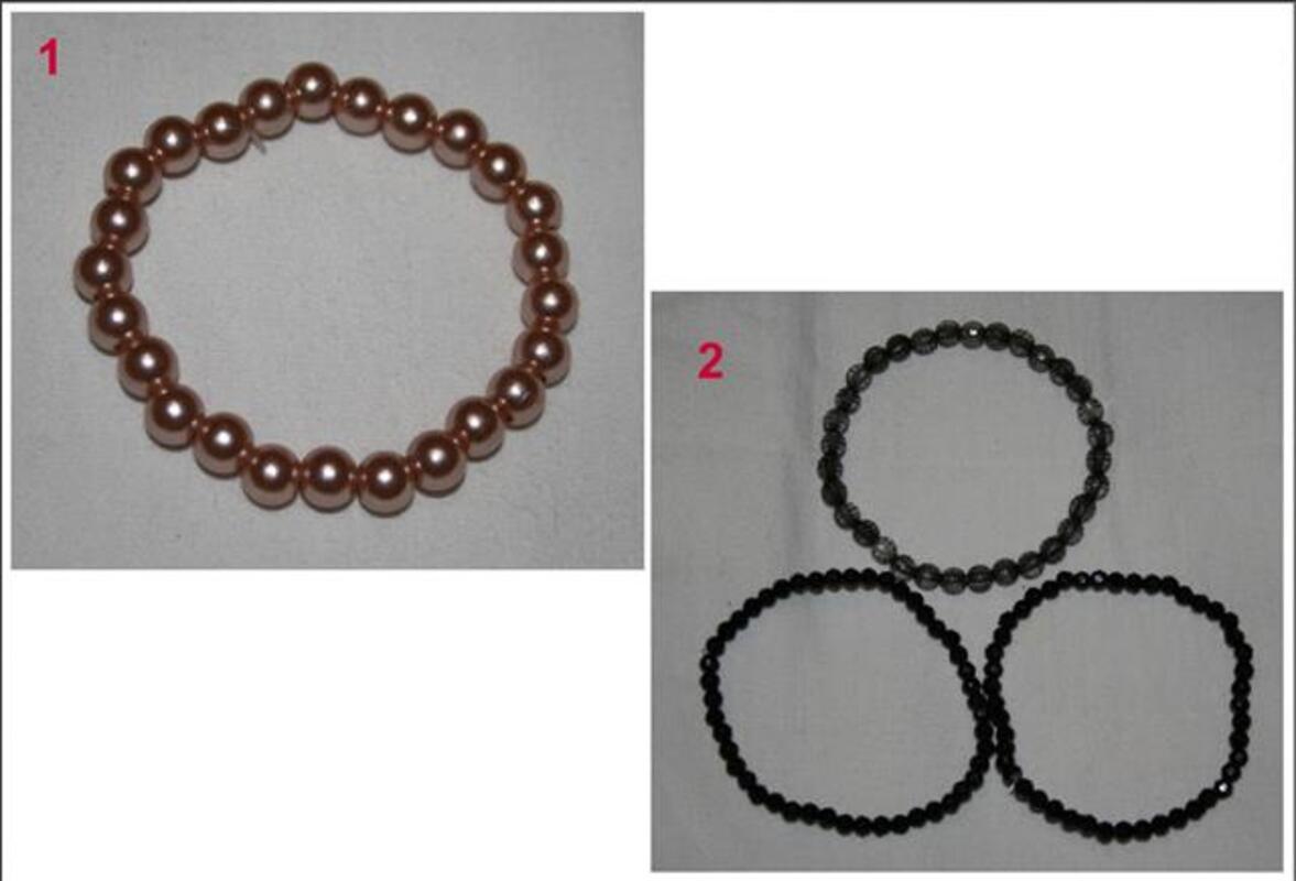 Bracelet perles modèles différents 1 rose 2 noir 1 gris 77981888