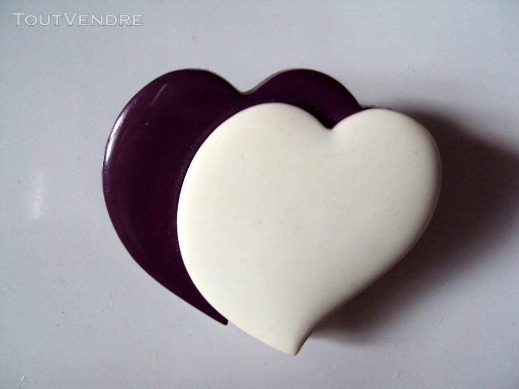 Broche vintage 2 coeurs blanc violet 190776367