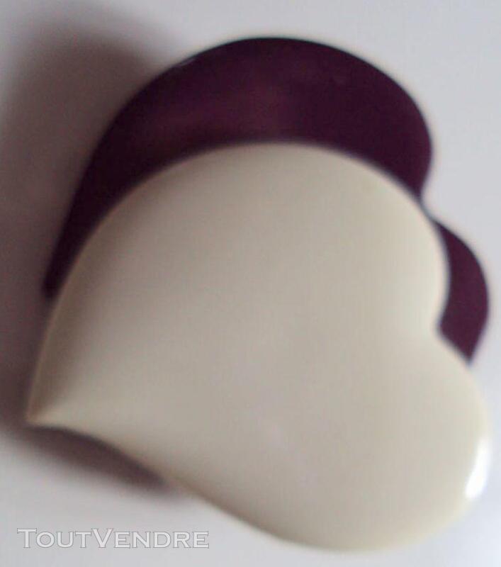 Broche vintage 2 coeurs blanc violet 190776478
