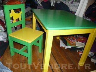 Bureau en bois + chaise enfant IKEA