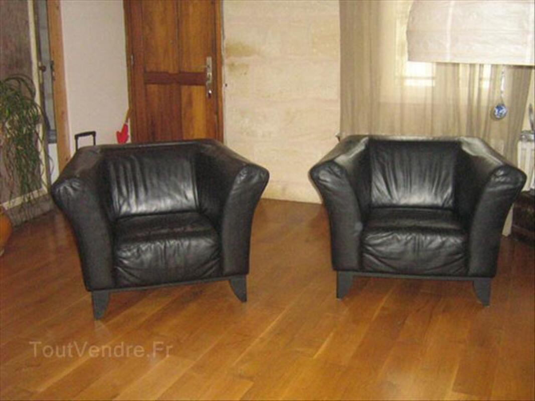 Canapé 2 p en cuir noir + 2 fauteuils style club 64471275