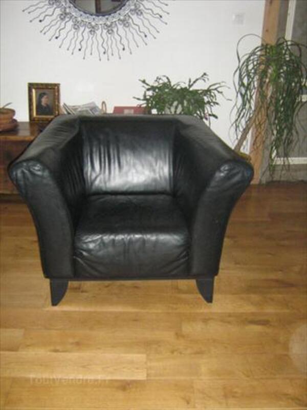 Canapé 2 p en cuir noir + 2 fauteuils style club 64471276