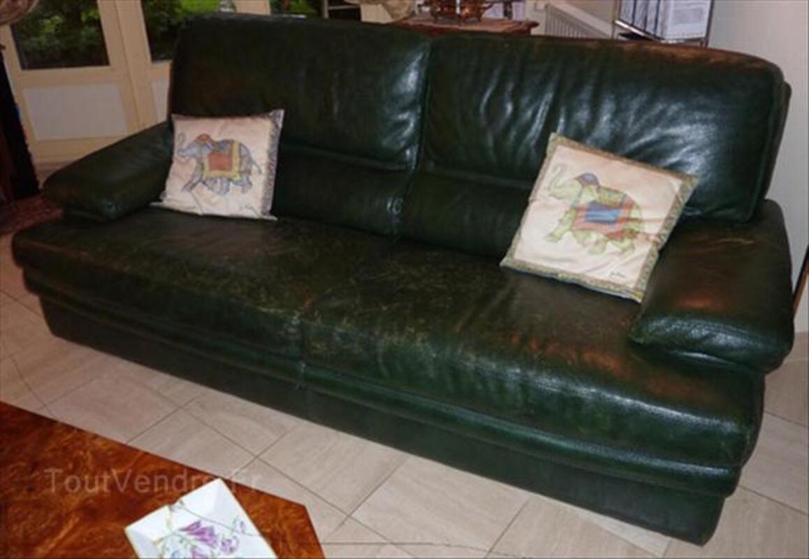Canape 3 places + 2 fauteuils cuir Roche Bobois 64457657