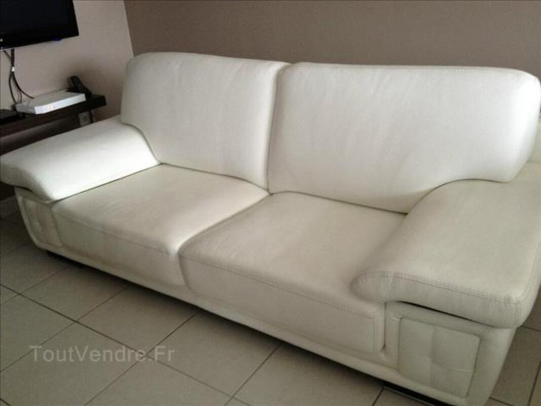 Canapé 3 places + canapé 2 places en cuir blanc 88114735