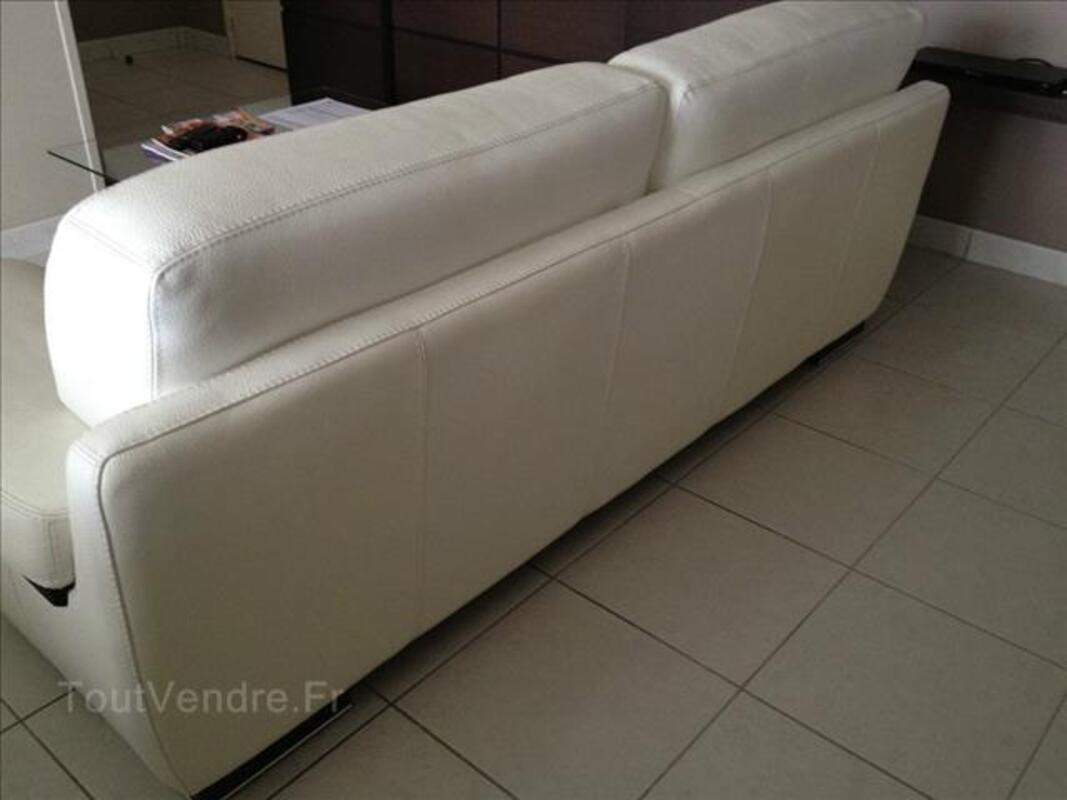 Canapé 3 places + canapé 2 places en cuir blanc 88114736