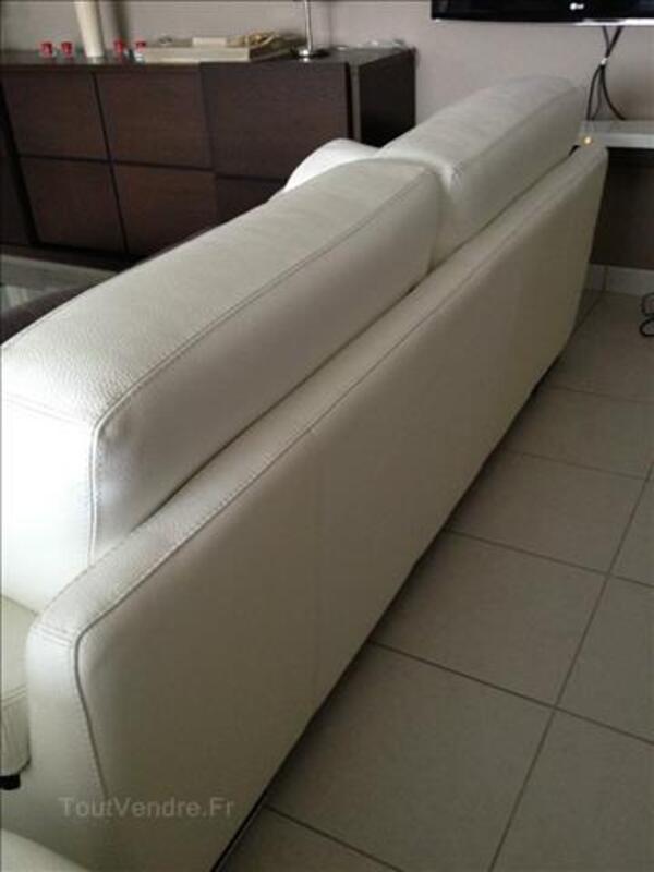 Canapé 3 places + canapé 2 places en cuir blanc 88114737
