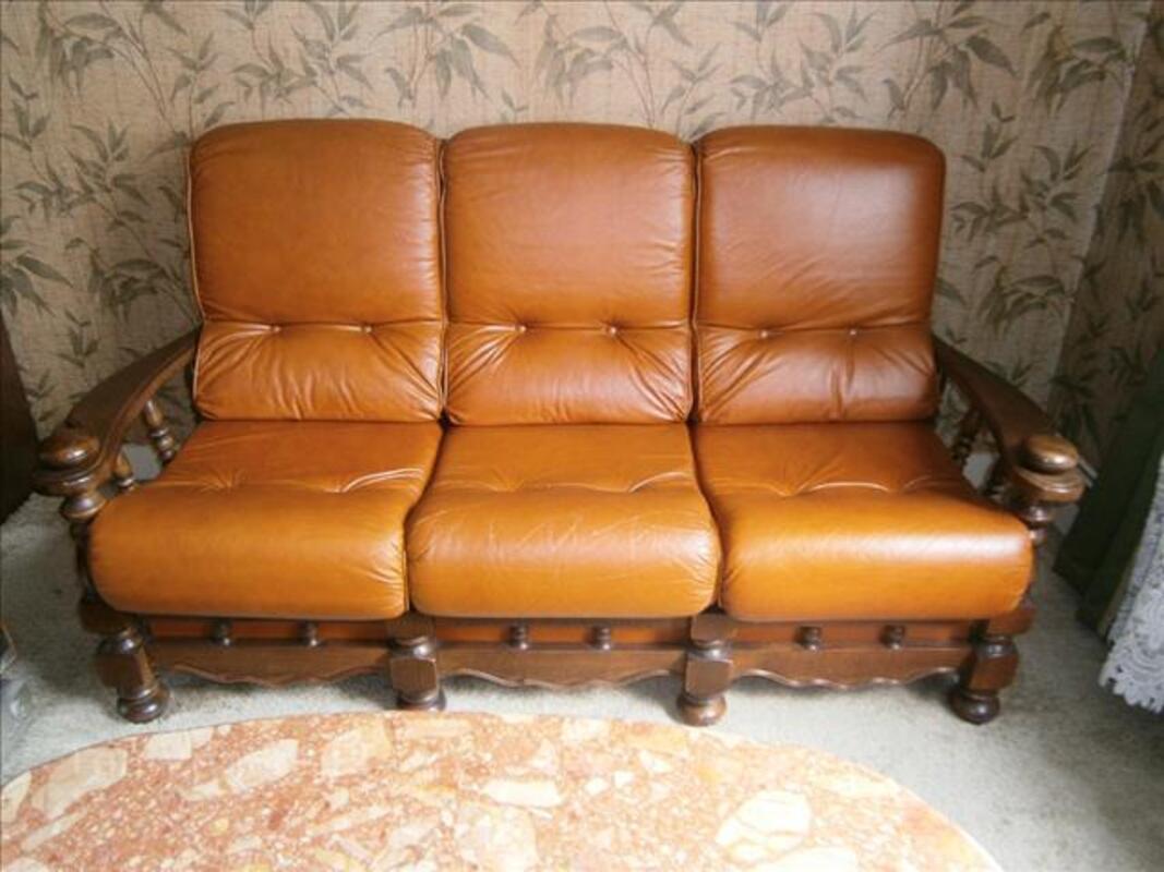 Canapé convertible bois et cuir 88114728