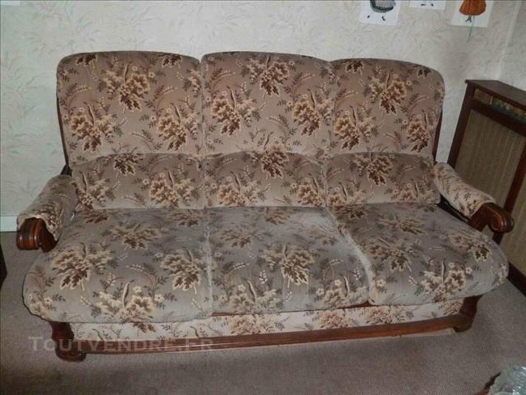 Canapé convertible bois et tissu et 2 fauteuils 83088098