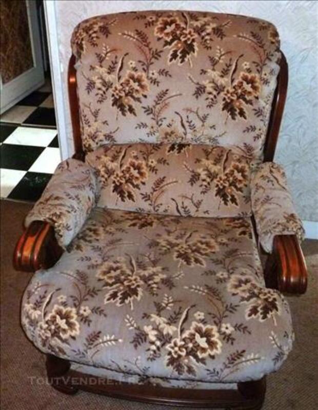 Canapé convertible bois et tissu et 2 fauteuils 83088099