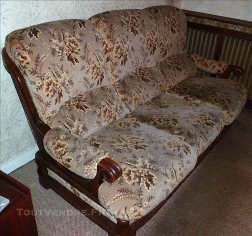 Canapé convertible bois et tissu et 2 fauteuils 83088100