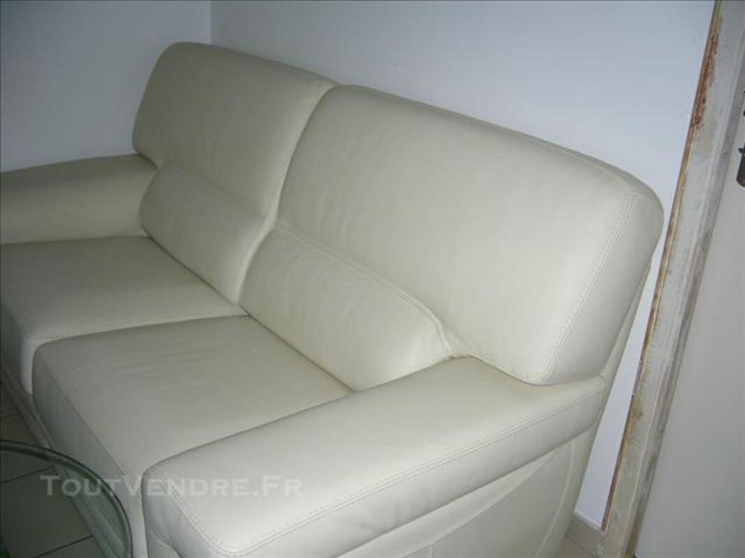 Canapé cuir blanc casse 84571609