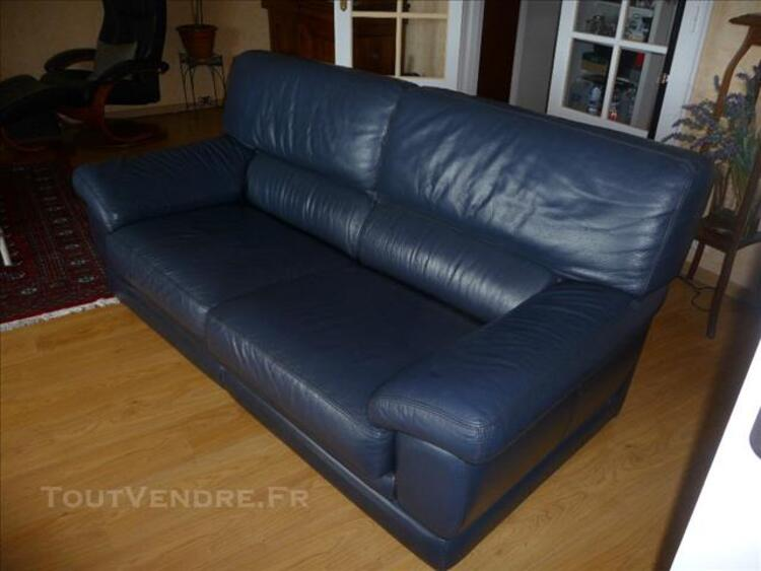 Canapé cuir bleu 3 places Bon Etat 78238290