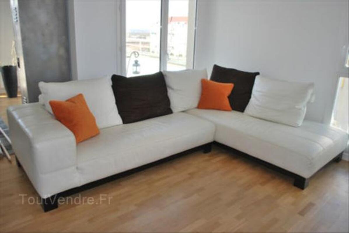 Canapé d'angle en cuir blanc cassé 56465747